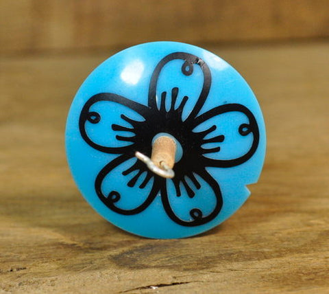 Lightweight Resin Drop Spindle - Black Flower on Blue