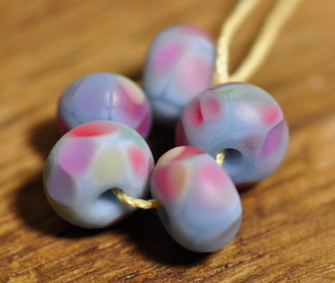 Handmade Lampwork Glass Spacer Beads - Blue/Pink Speckles