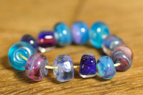Handmade Lampwork Glass Bead Set - 'Blue Treasures'