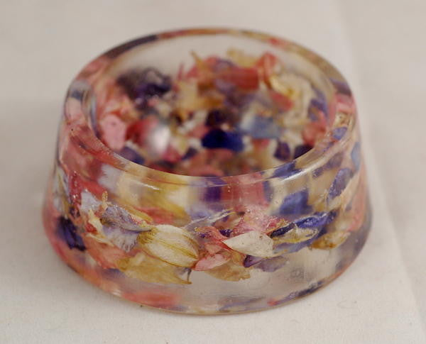 Resin Spindle Bowl: Larkspur Petals