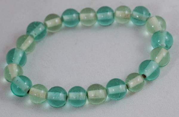 Stretch Bracelet, Wrist Distaff - Aqua Glass Beads