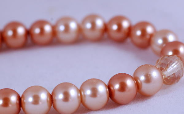 Stretch Bracelet, Wrist Distaff - Champagne Glass Pearls