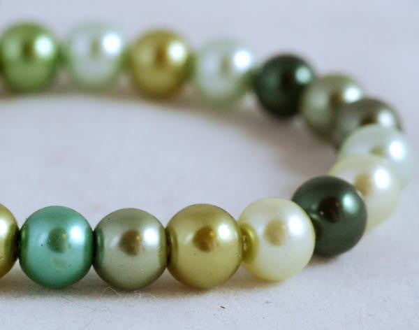 Stretch Bracelet, Wrist Distaff - Green Glass Pearls