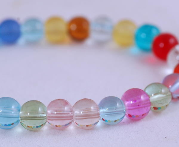 Stretch Bracelet, Wrist Distaff - Multicoloured Glass Beads