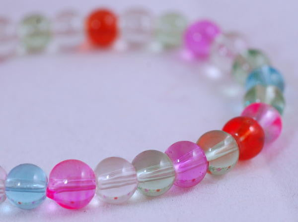Stretch Bracelet, Wrist Distaff - Pastel Glass Beads