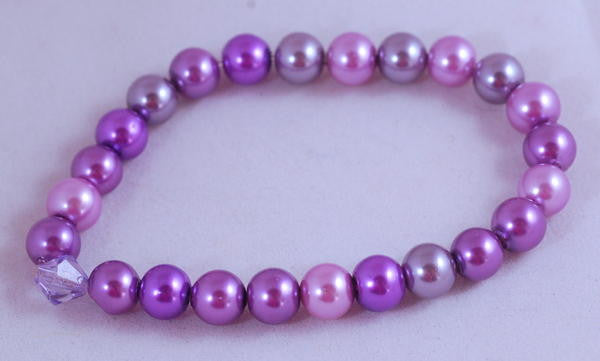 Stretch Bracelet, Wrist Distaff - Purple Glass Pearls