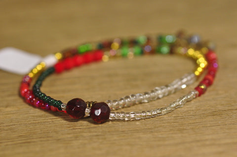 SALE! Stretch Bracelet, Wrist Distaff - Red/Green Seed Beads