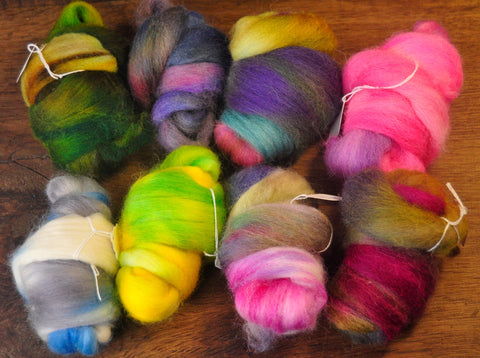 Hand Dyed Wool Tops - 200g Mini Bundle Set, Mixed Colours for Needle Felting or Hand Spinning
