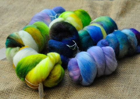 Hand Dyed Wool Tops - 200g Mini Bundle Set, Cool Colours, for spinning or felting
