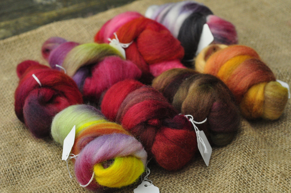 Hand Dyed Wool Tops - 200g Mini Bundle Set, Warm Colours, for spinning or felting