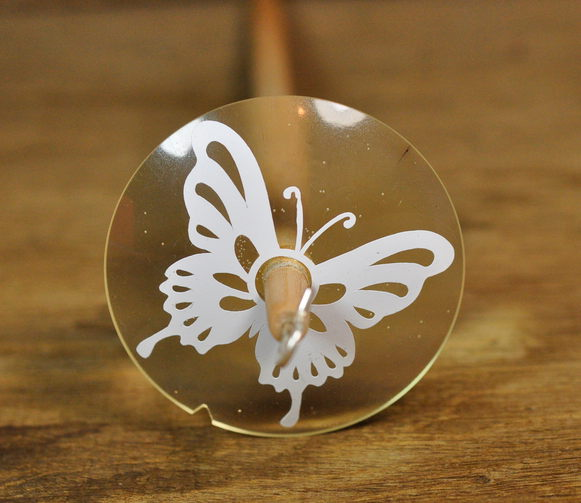 Lightweight Resin Drop Spindle - Butterfly on Clear