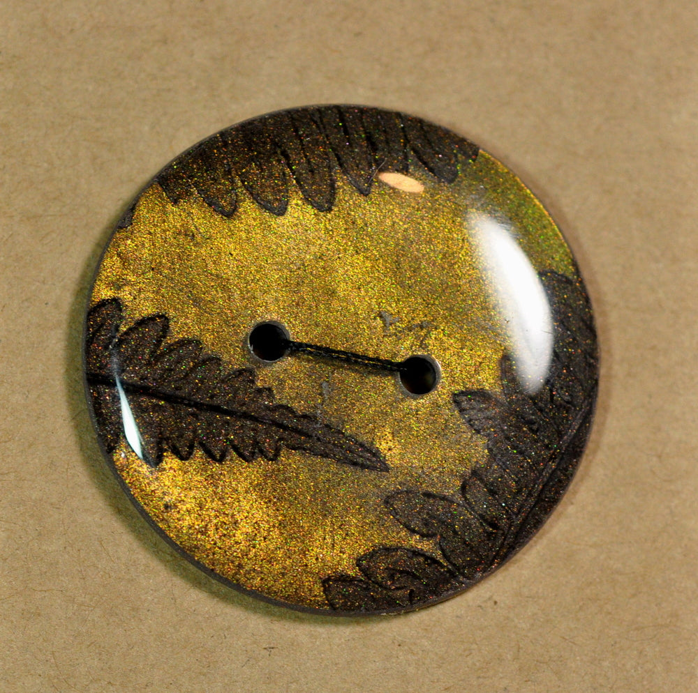 Large Handmade Button, 32mm - Gold Shadow Leaf