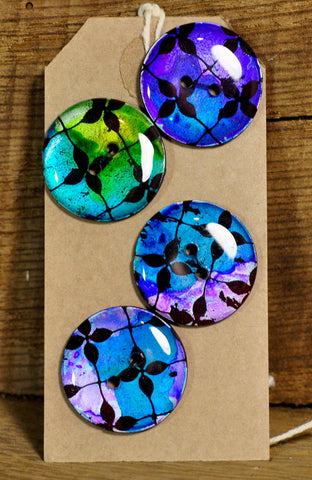 Handmade Buttons, 28mm - Jewel Blue