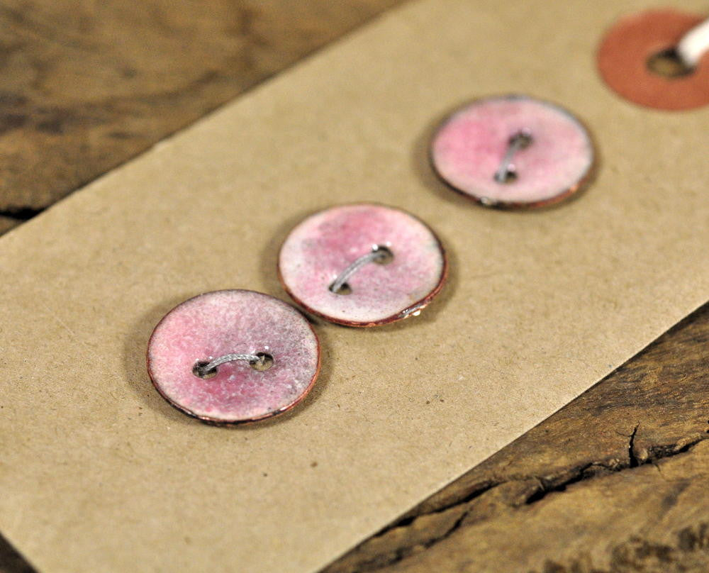 Handmade Enamelled Copper Buttons - Blush Pink