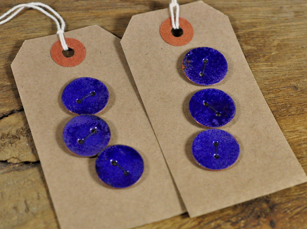 Handmade Enamelled Copper Buttons - Speckled Blue