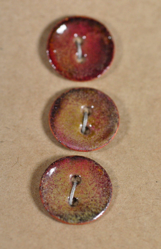 Handmade Enamelled Copper Buttons - Muted Brown