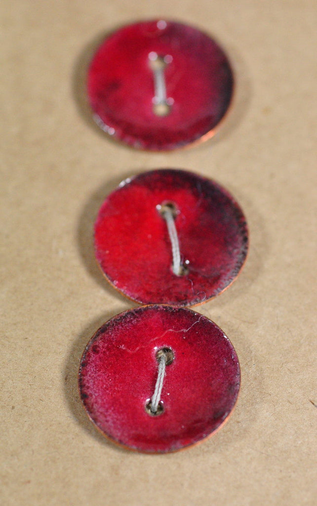 Handmade Enamelled Copper Buttons - Red/Blue