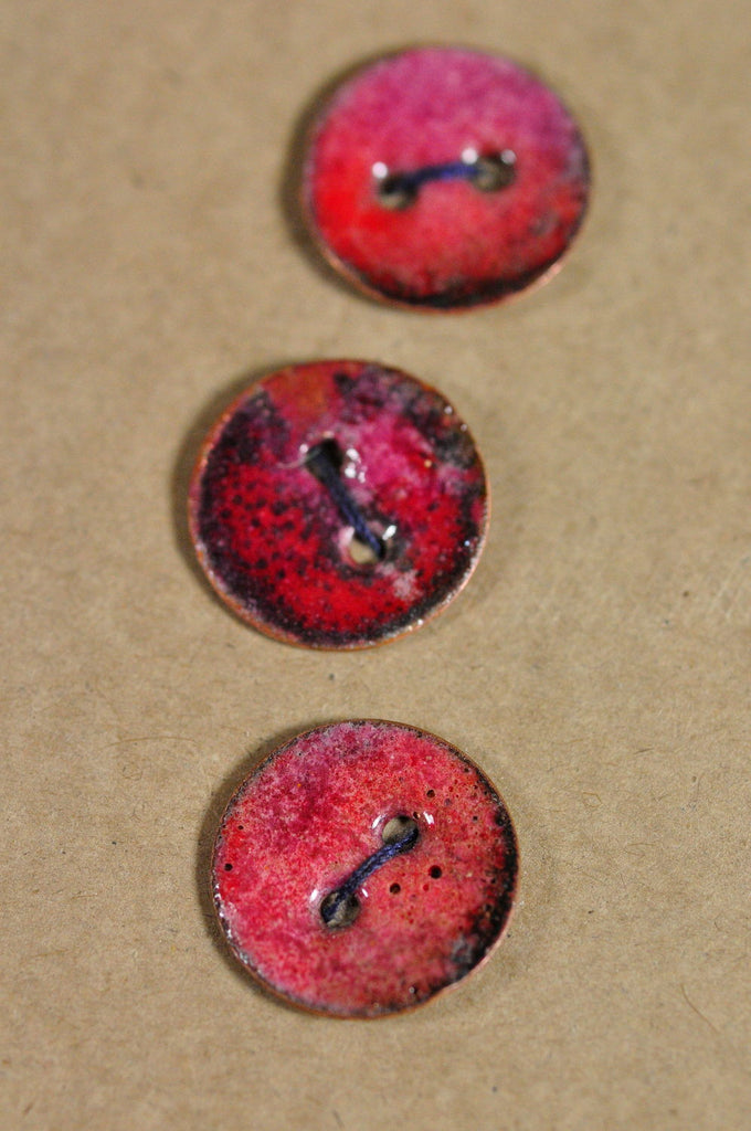Handmade Enamelled Copper Buttons - Torched Red