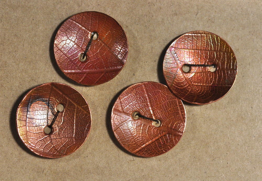 Handmade Copper Buttons - Fire Stained Leaf Pattern