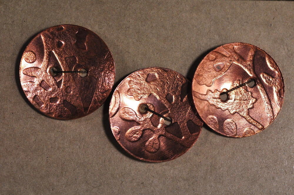 Handmade Copper Buttons - Foliage Design