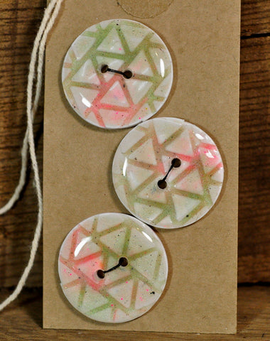 Handmade Buttons, 27mm - Green/Pink