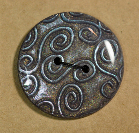 Large Handmade Button, 32mm - Silver Swirls