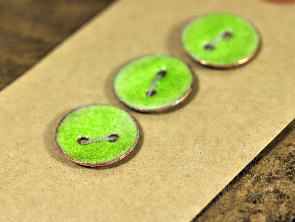 Handmade Enamelled Copper Buttons - Lime Green