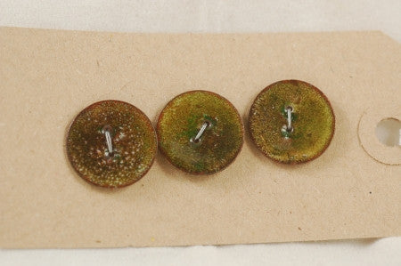 Enamelled Copper Buttons - Moss