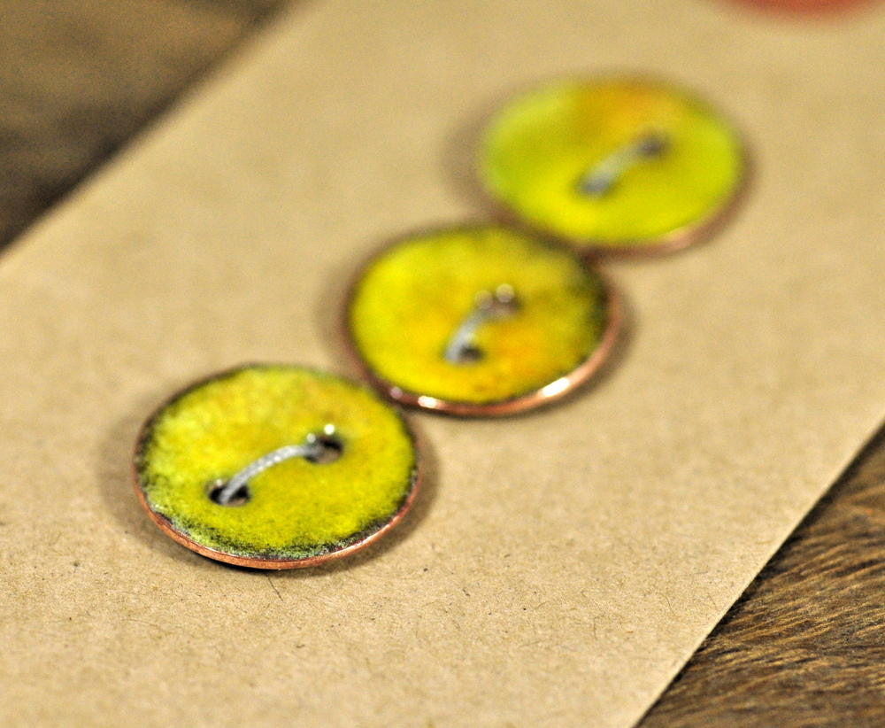 Handmade Enamelled Copper Buttons - Mustard