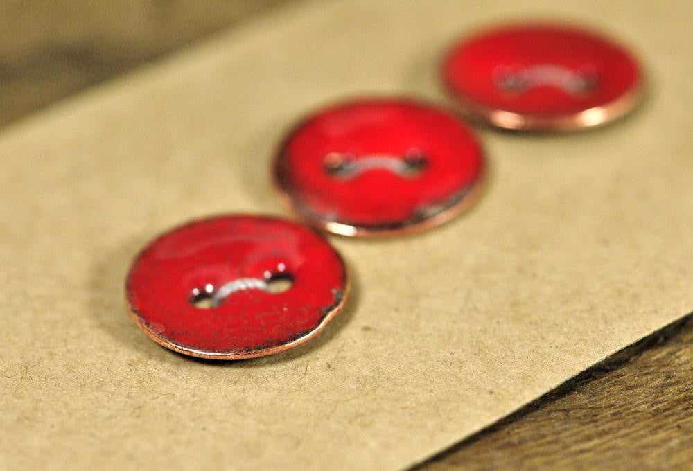 Handmade Enamelled Copper Buttons - Poppy