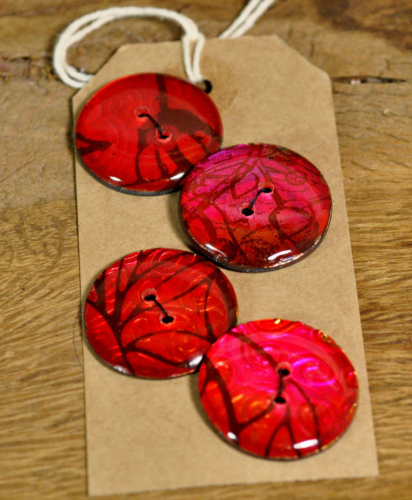 Handmade Buttons, 28mm - Jewel Red