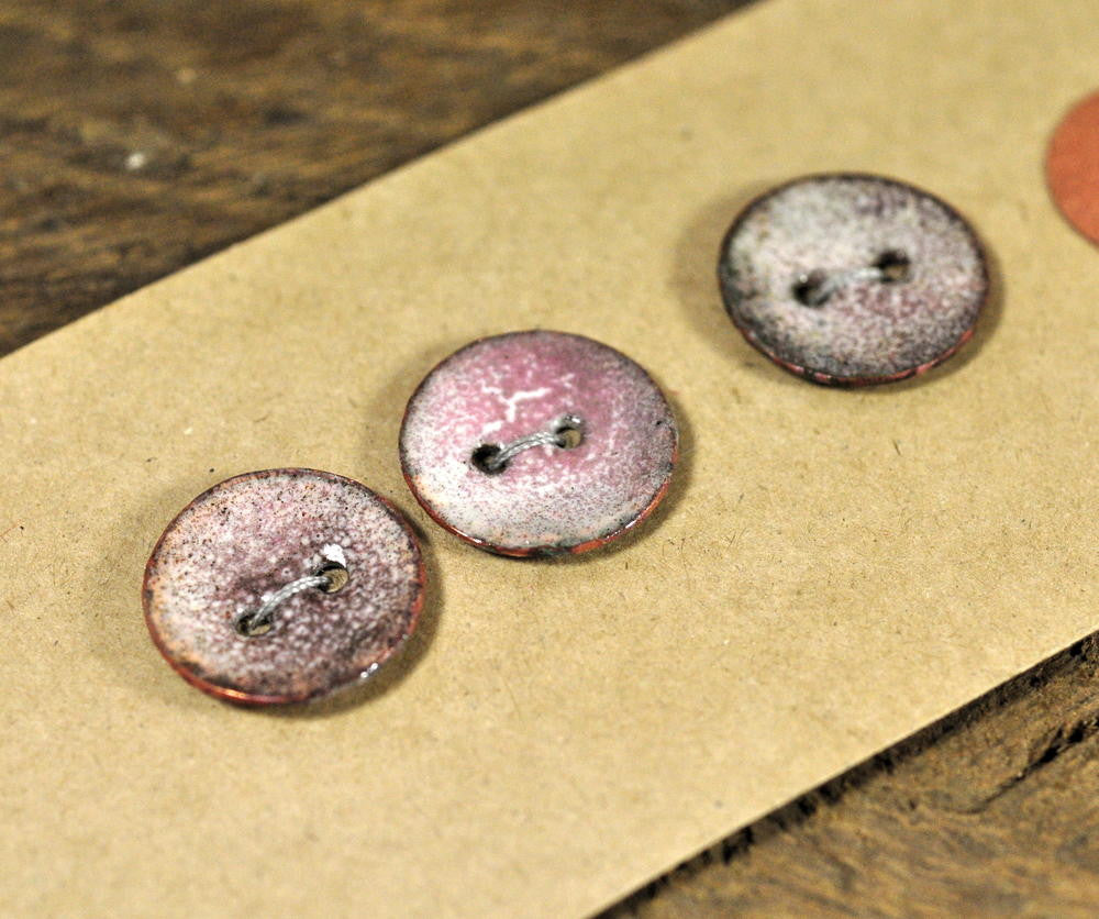 Handmade Enamelled Copper Buttons - Rose Grey