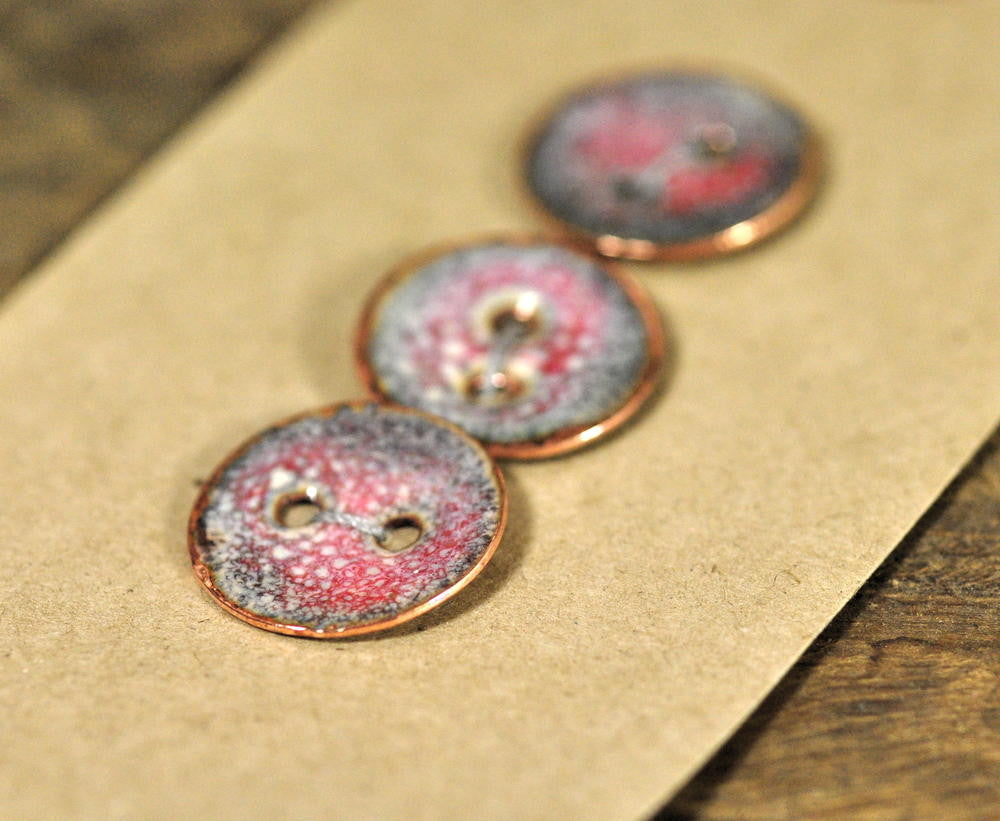 Handmade Enamelled Copper Buttons - Speckled Red