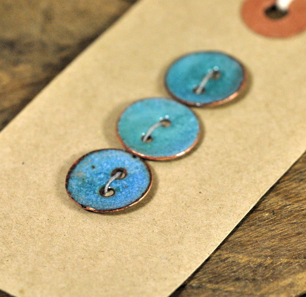 Handmade Enamelled Copper Buttons - Turquoise
