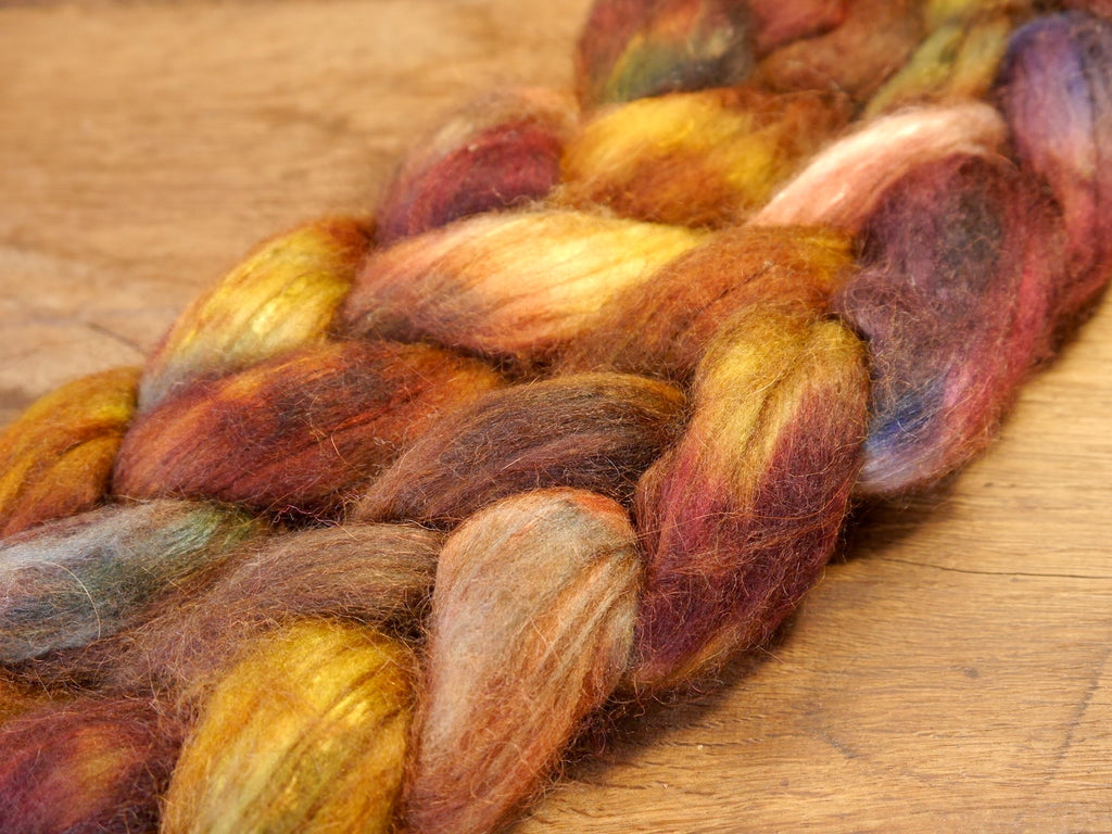Luxury Merino/Alpaca/Silk/Camel Top for Hand Spinning - 'Redwing'