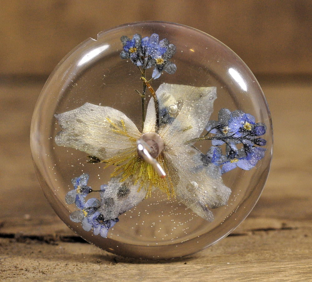 Resin Drop Spindle - Clematis and Forget-me-not
