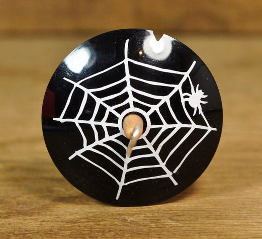 Lightweight Resin Drop Spindle - White Cobweb on Black