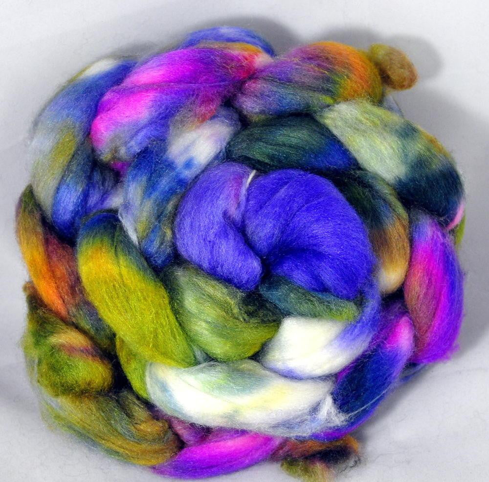 Polwarth/Silk Top for Hand Spinning - Spring Flowers