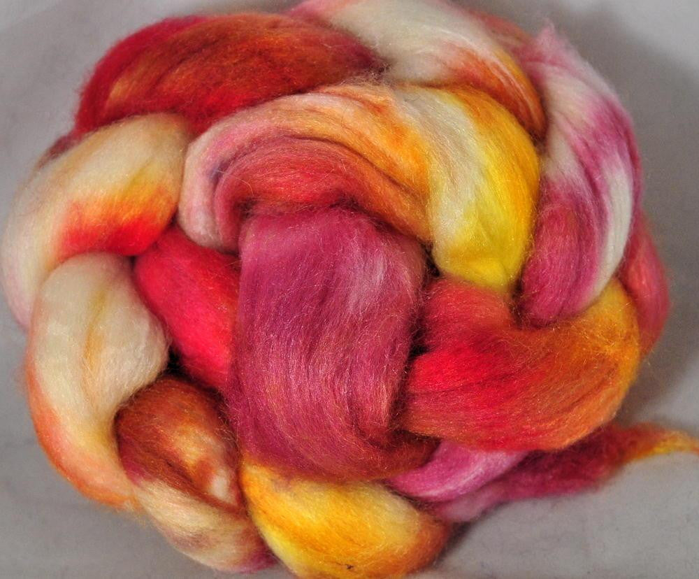 Merino/Silk Top for Hand Spinning - Coral, 50g