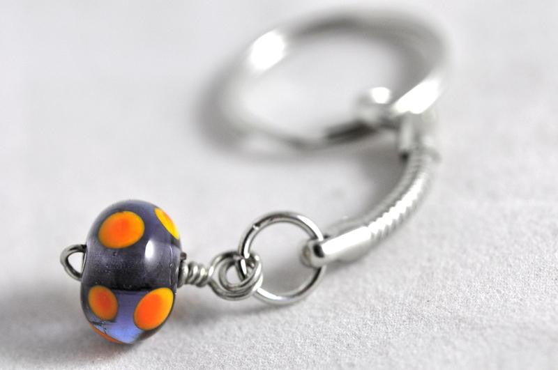 Handmade Lampwork Keyring - Lilac and Orange Dots