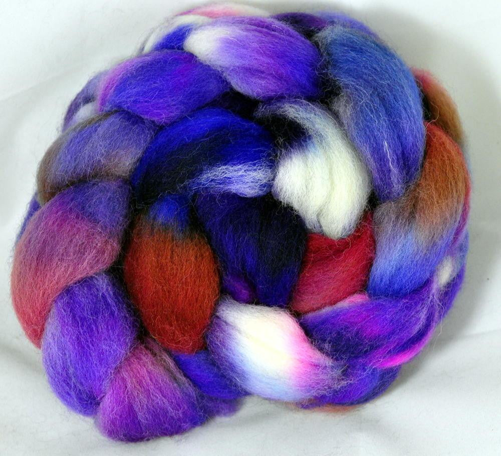 Hand Dyed Wool Top: Romney - Blueberry Smoothie