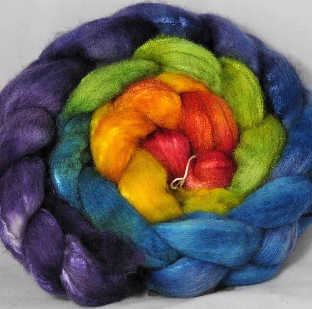 BFL/Silk Top for Hand Spinning - Rainbow Gradient