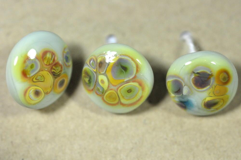 Handmade Glass Buttons - Minty Green/Brown Speckled