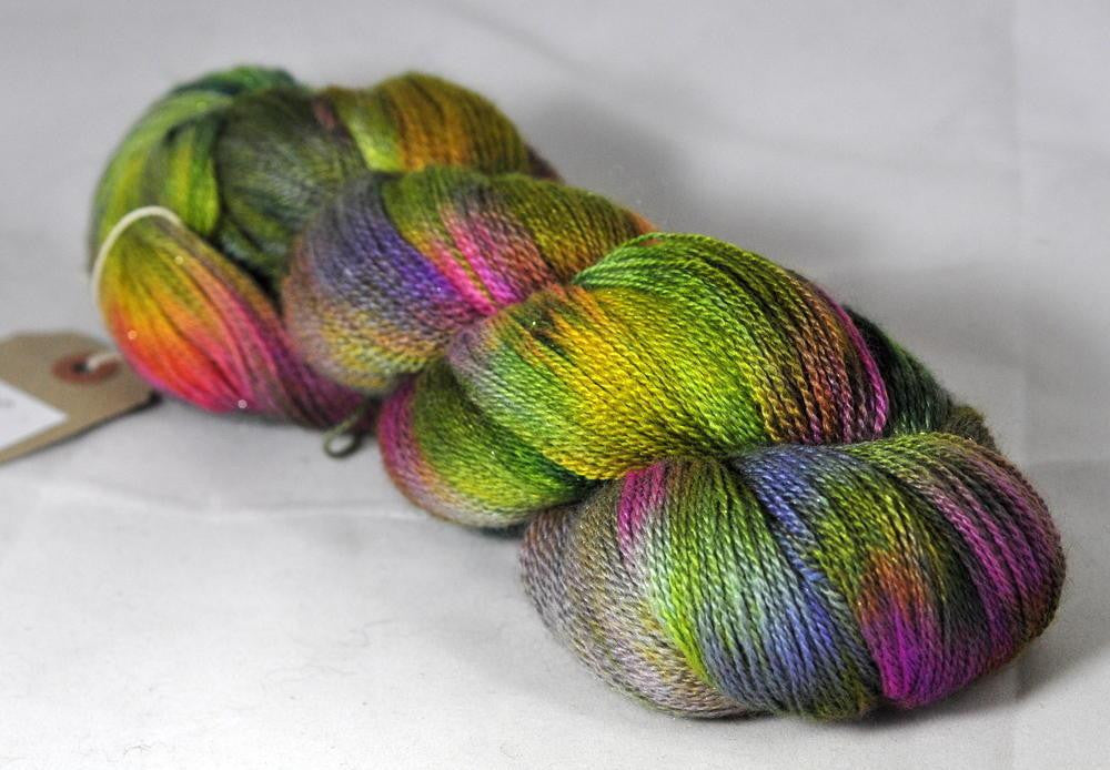Hand Dyed Merino/Silk/Sparkle Laceweight Yarn (Penzance 2ply) - English Country Garden