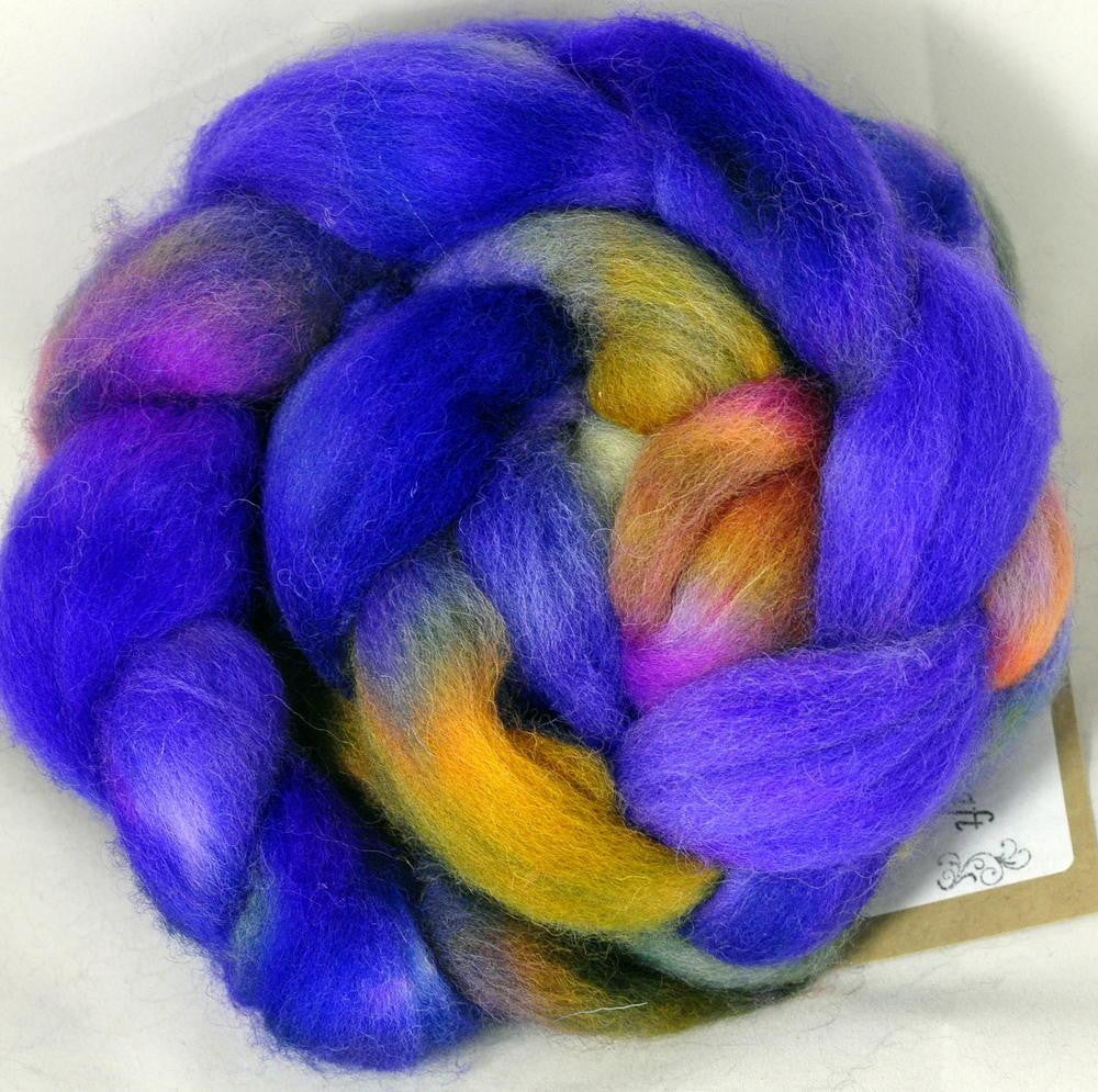 Hand Dyed Wool Top: Romney - Spring Iris