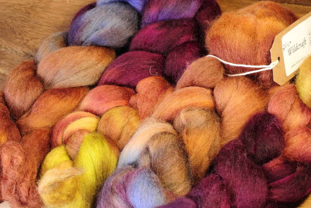 Hand Dyed Corriedale Wool Top for Spinning or Felting, Gradient Dyed - 'Artichoke'
