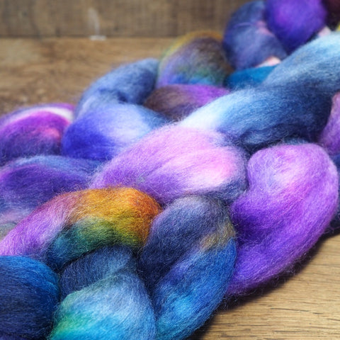 Hand Dyed Corriedale Wool Top for Spinning or Felting - 'Aster'
