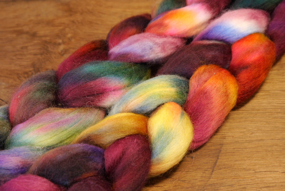 Hand Dyed Corriedale Wool Top for Spinning or Felting - 'Aubergine'