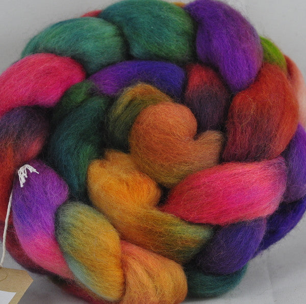 Corriedale Wool Top for Hand Spinning - Autumn Brights