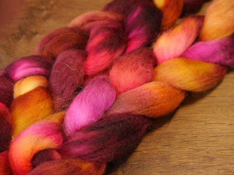 Hand Dyed Corriedale Wool Top for Spinning or Felting - 'Embers'